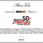 "Silicon India recognized AbeerTech as ""50 best startups to work for 2017"""